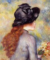 Девочка, держащая букет тюльпанов