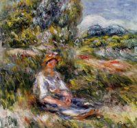 Девочка, сидящая на лугу