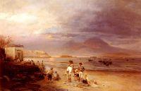 Рыбаки у Неаполитанского залива с Везувием вдали