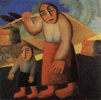 Крестьянка с ведрами и ребенком