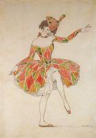 Эскиз костюма Коломбины для Анны Павловой в Арлекинаде