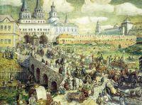 Уличное движение на Воскресенском мосту в XVIII веке.