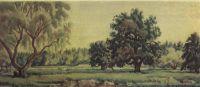 Пейзаж с дубами и ветлами
