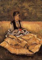 Женщина, сидящая на траве (фрагмент)