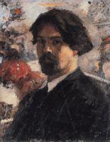 Автопортрет на фоне картины Покорение Сибири Ермаком