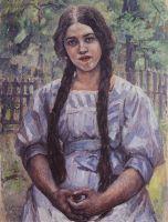Девушка с косами. Портрет А.А.Добринской