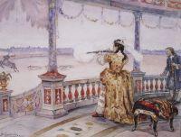 Императрица Анна Иоанновна в петергофском Тампле стреляет оленей