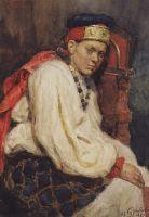Натурщица в старинном русском костюме