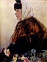 Портрет молодой женщины в шубе с муфтой