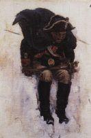 Солдат, спускающийся по склону снежной горы