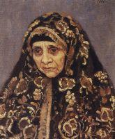 Старуха в узорчатом платке