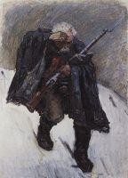 Старый солдат, спускающийся по склону снежной горы