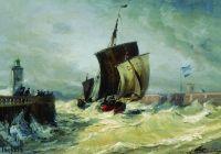 Возвращение в порт Трепор в полую воду. Франция, Нормандия