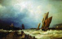 Вход рыбачьего судна в бурю в гавань Сен-Валери в Ко (Франция).