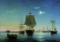 Кронштадтский рейд с кораблями вечером