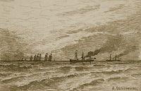 Пароход и парусные суда в море