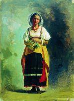 Итальянка с корзиной цветов