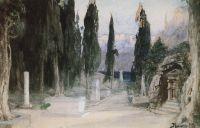 Кладбище среди кипарисов