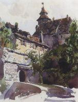 Уголок средневекового города со стеной