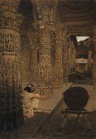 Колоннада в Джайнском храме на горе Абу вечером