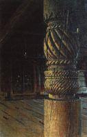 Резной столб в трапезной Петропавловско церкви в селе Пучуги Вологодской губернии