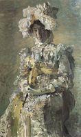 Портрет артистки Н.И.Забелы-Врубель, жены художника, в летнем туалете Empire, исполненном по замыслу художника