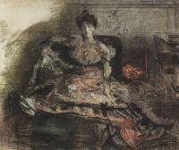 После концерта. Портрет Н.И.Забелы-Врубель у камина в туалете, исполненном по замыслу художника