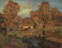 Деревенский пейзаж с мостом