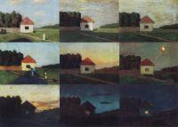 Изменение в пейзаже отношений по тону и цвету в разное время суток. Учебный пейзаж-таблица