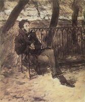 А.С.Пушкин на садовой скамье.