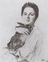 Портрет К.А.Обнинской с зайчиком.