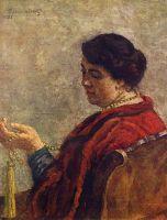 Портрет Ольги Васильевны Кончаловской, жены художника (в красном бусами).