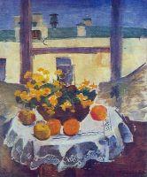 Натюрморт. Стол с фруктами и желтыми цветами.