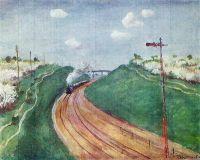 Весенний пейзаж с поездом.