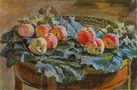 Натюрморт. Яблоки на круглом столе.