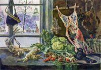Натюрморт. Мясо, дичь и брюссельская капуста на фоне окна.