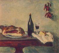 Натюрморт. Хлеб, ветчина и вино.