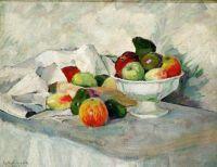 1908 Яблоки и груши на белом.