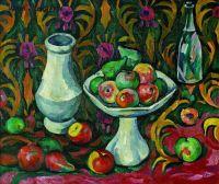 1910-е Натюрморт с бутылкой, кувшином и фруктами. 1900-10-е