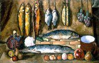 1910-е Натюрморт. Рыбы. Х., м. 88x138 Ереван