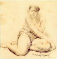 1910-е Сидящая натурщица, положившая руку на бедро. Рис.