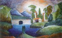 1911 Пейзаж с башнями. Холст, масло. 62x87.5 ЧС