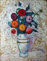 1912 (q) Натюрморт с георгинами. Х., м.  92,5x70 Ереван