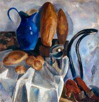 1914 Натюрморт с хлебами и тыквой.