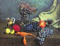 1924 Натюрморт. Виноград, лимон и рак. Х., м. 68x85 ГТГ