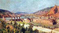 1927 ЗАГЭС. Плотина на реке Куре и шоссе Военно-Грузинской дороги. ГТГ