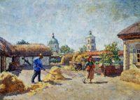 1930 Дворик в станице Михайловской. Х.,м. 94х130 Волгоград