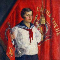 1933 Пионерка с горном.. Х.,м. 92х92 Волгоград