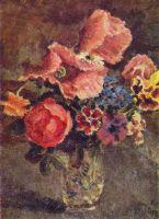 1939 Маки, розы, васильки и другие цветы в стеклянной вазе. Х., м. 52х40 Волгоград
