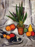 Натюрморт с растениями и фруктами.